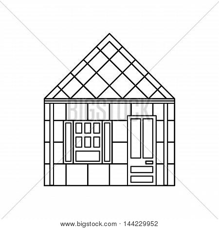 One storey house with one window icon in outline style isolated on white background. Building symbol