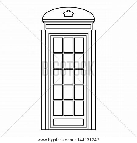 Phone booth icon in outline style isolated on white background. Call symbol