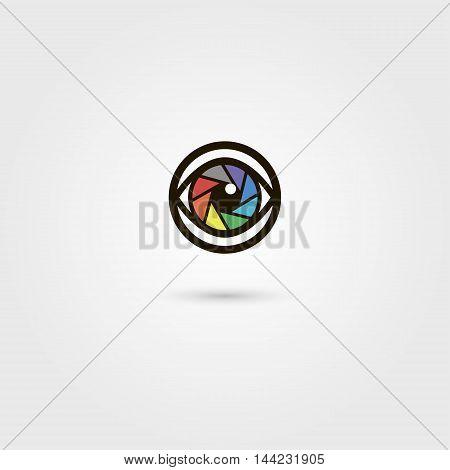 Vector shutter camera eye icon. Photography concept