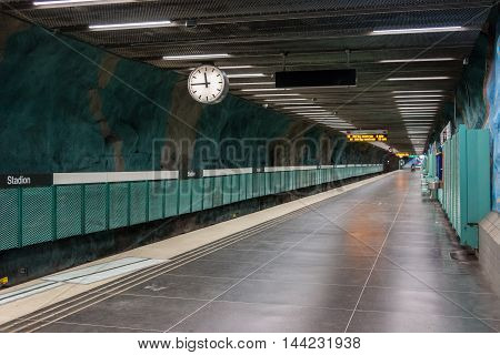 STOCKHOLM-SWEDEN-2014-04-26.Platform. Stadion metro station is on the red line of the Stockholm metro, located in the district of