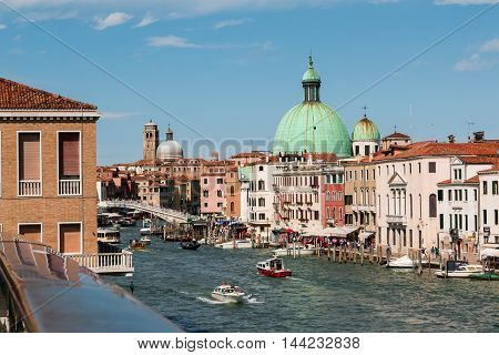 VENEZIA, ITALY - MAY 2015: Grand Canal Dome of San Simeon Piccolo's Church and Ponte degli Scalzi in Venice - Italy