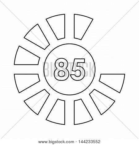 Sign 85 load icon in outline style isolated on white background. Loading symbol