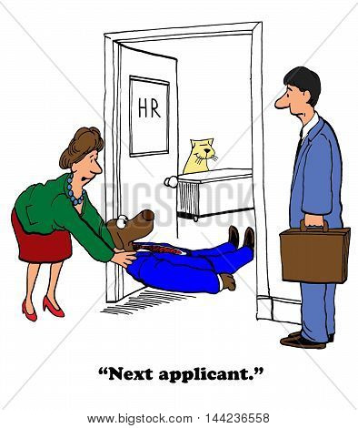 Business cartoon depicting an unsuccessful job interview.