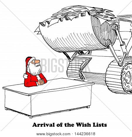 Christmas cartoon showing a bulldozer bringing the many wish lists to Santa Claus.