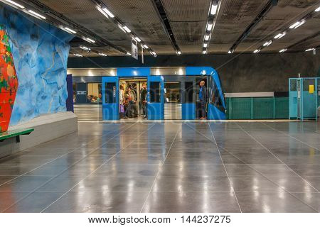 STOCKHOLM-SWEDEN-2014-04-26.Arrived train. Stadion metro station is on the red line of the Stockholm metro located in the district of Ostermalm.The station was opened in 1973.