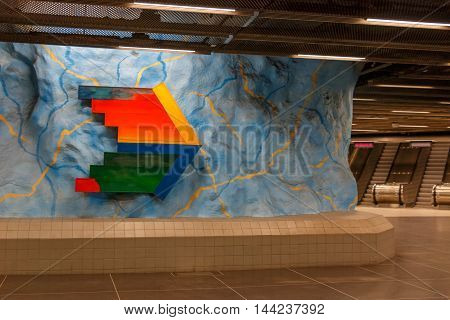 STOCKHOLM-SWEDEN-2014-04-26.Art in Stockolm underground. Stadion metro station is on the red line of the Stockholm metro located in the district of Ostermalm.The station was opened in 1973.