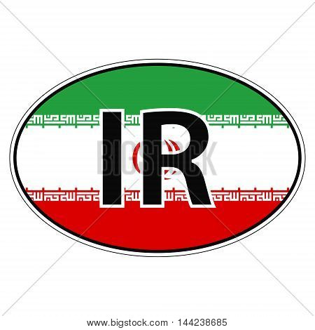 Sticker on car, flag Islamic Republic Iran with the inscription PK vector for print or website design for language buttons