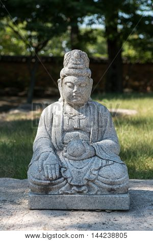 Gyeongju, South Korea - August 18, 2016: Statue Of The Buddha In Bunhwangsa. Bunhwangsa Is A Temple