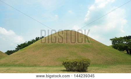Gyeongju, South Korea - August 17, 2016: Cheonmachong, Tumulus Located In Gyeongju, South Korea. The