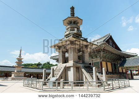 Gyeongju, South Korea - August 18, 2016: The Stone Pagoda Dabotap In Bulguksa Temple, South Korea.