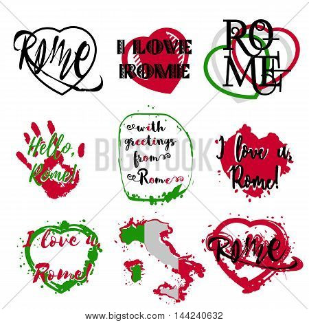 Set of labels with lettering about Rome and heart paint splashes in green white red italic colors on white. Collection of souvenir prints for fabric textiles clothing shirts. Vector illustration