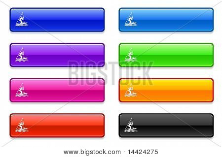 Sailboat Icon on Long Button Collection Original Illustration