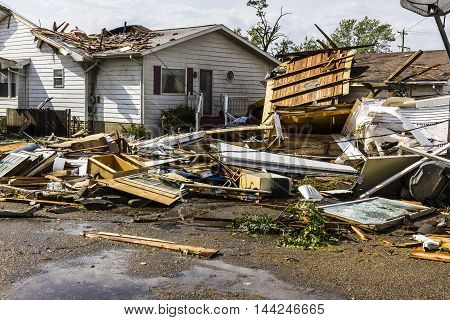 Kokomo - August 24 2016: Several EF3 tornadoes touched down in a residential neighborhood causing millions of dollars in damage. This is the second time in three years this area has been hit by tornadoes 24
