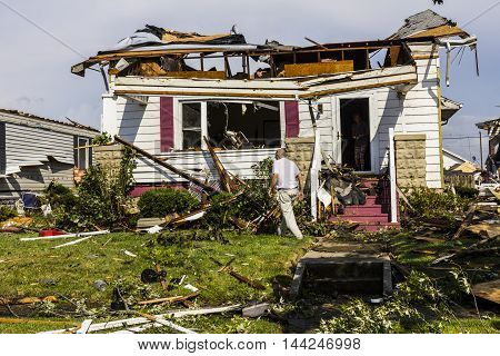 Kokomo - August 24 2016: Several EF3 tornadoes touched down in a residential neighborhood causing millions of dollars in damage. This is the second time in three years this area has been hit by tornadoes 26