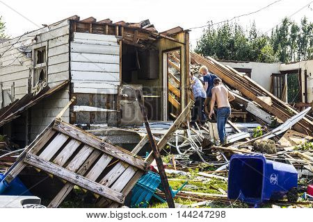 Kokomo - August 24 2016: Several EF3 tornadoes touched down in a residential neighborhood causing millions of dollars in damage. This is the second time in three years this area has been hit by tornadoes 31