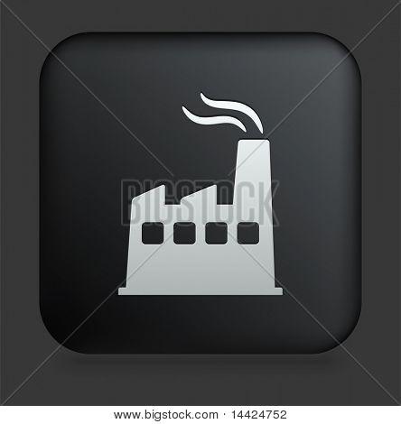 Factory Icon on Square Black Internet Button Original Illustration
