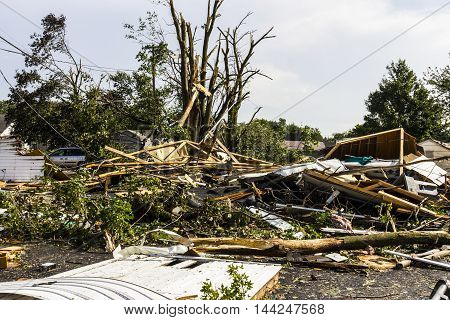 Kokomo - August 24 2016: Several EF3 tornadoes touched down in a residential neighborhood causing millions of dollars in damage. This is the second time in three years this area has been hit by tornadoes 36