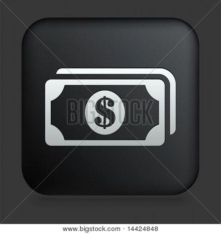Money Icon on Square Black Internet Button Original Illustration