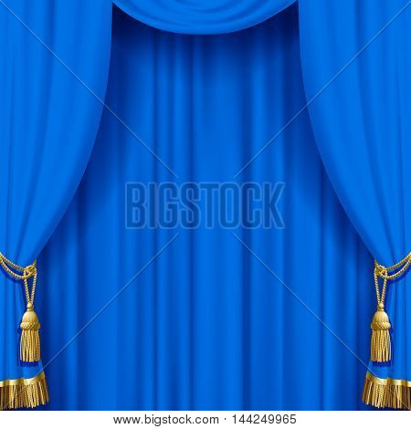 Light blue curtain with gold tassels. Artistic poster and background. Vector illustration.