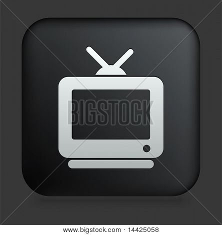 Television Icon on Square Black Internet Button Original Illustration