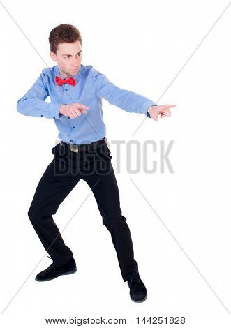 Referee suit and tie butterfly separates boxers. Isolated over white background. the referee cautions.