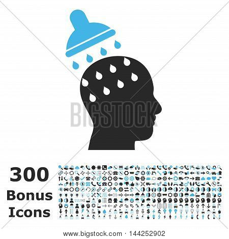 Brain Washing icon with 300 bonus icons. Vector illustration style is flat iconic bicolor symbols, blue and gray colors, white background.