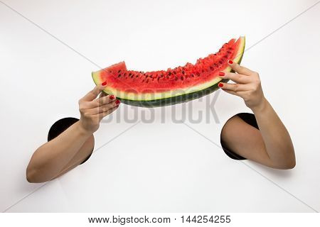 Female  hands through the holes on a white background are holding a luscious piece of watermelon
