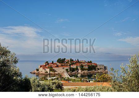 Island Sveti Stefan - Montenegro - architecture and nature background. Montenegro.
