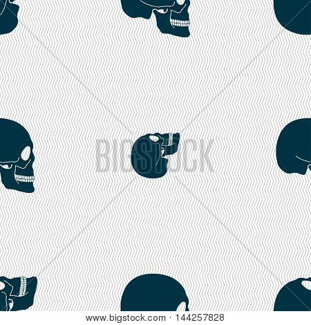 Skull Sign. Seamless Pattern With Geometric Texture. Vector