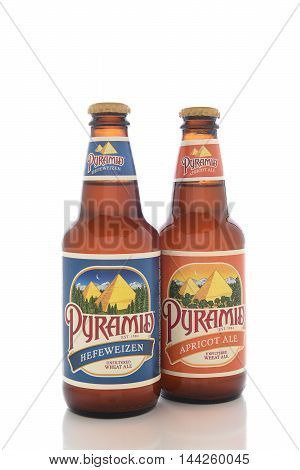 IRVINE CALIFORNIA - AUGUST 25 2016: Two Pyramid Breweries Ales. Pyramid Breweries Inc. is a brewing company headquartered in Seattle Washington.