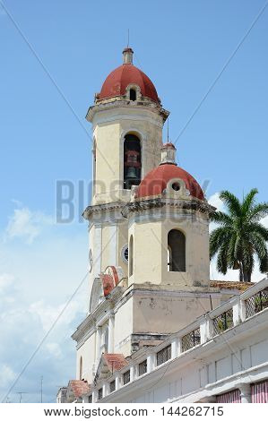 CIENFUEGOS CUBA - JULY 24 2016: Cathedral of the Immaculate Conception. In 2005 Cienfuegos was listed as a UNESCO World Heritage Site.