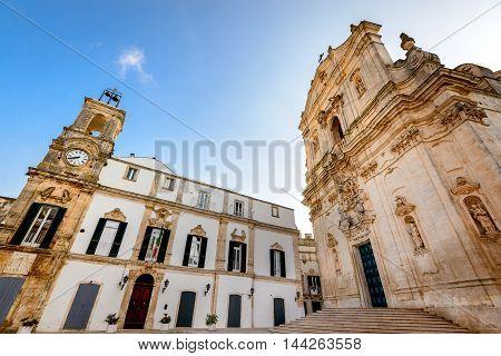 Martina Franca Puglia. Basilica of San Martino at the Piazza Plebiscito Taranto province Apulia in South Italy.