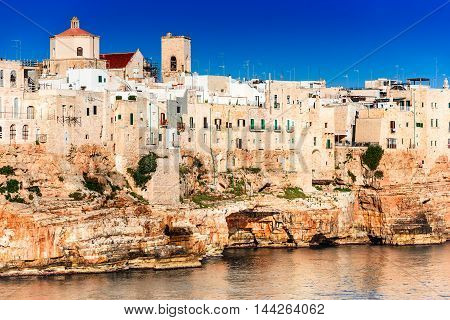 Puglia Italy. Amazing sunrise scenery of Polignano a Mare town in the province of Bari Apulia southern Italia on the Adriatic Sea