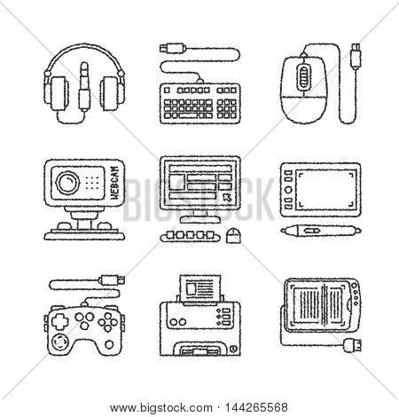 Set Of Vector Electronics Icons And Concepts In Sketch Style
