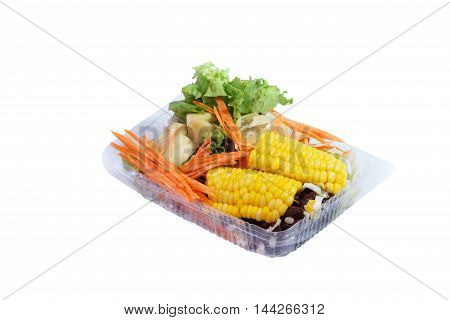 Salad box packaging on white background selection focus
