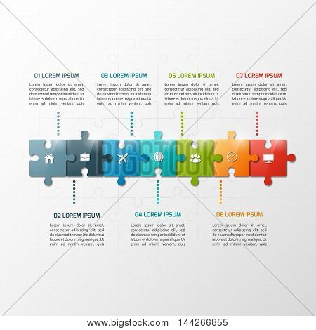 Vector 7 Steps Puzzle Style Timeline Infographic Template. Business Concept.