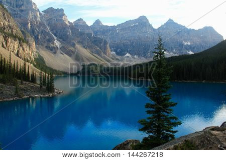 Early evening at Lake Moraine in Banff National Park, Alberta, Canada.