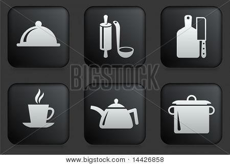 Food Preparation Icons on Square Black Button Collection Original Illustration