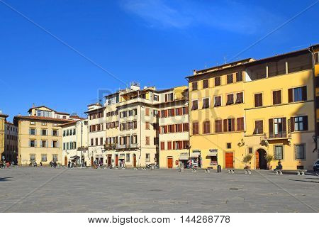 FLORENCE, ITALY - January 19, 2016: Piazza Santa Croce, one of the main squares of Florence, Italy