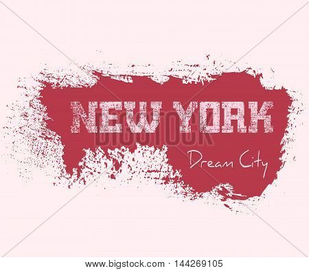 T shirt typography graphics New York. Cute athletic style for girl NYC. Fashion american stylish print for sports wear. Woman template apparel card poster. Symbol of big city. Vector illustration