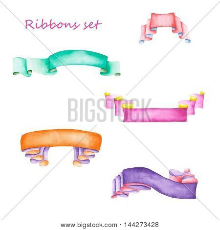 Set, collection of isolated ribbons painted in watercolor on a white background