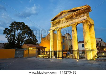 Remains of the Roman Agora in Athens, Greece.