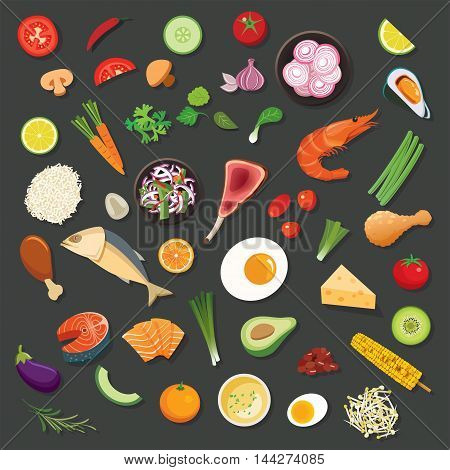 food and ingredients background vector flat design