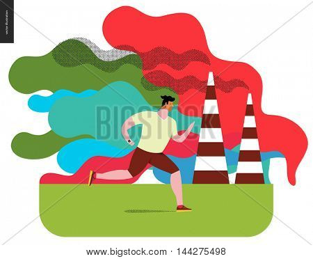 Young man running in smog, gas-polluted air.