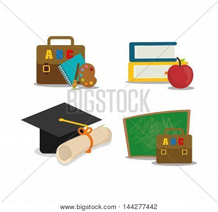 graduation cap suitcase books apple back to shool education  icon set. Colorful and flat design. Vector illustration