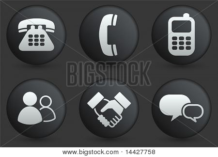 Communication Icons on Black Internet Button Collection Original Illustration