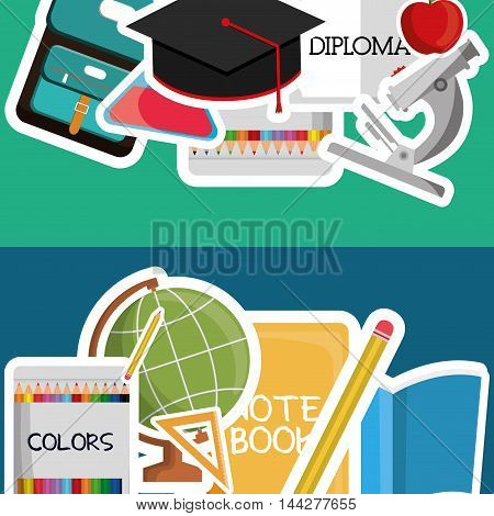 graduation cap planet sphere diploma colors pencil back to shool education  icon set. Colorful and flat design. Vector illustration