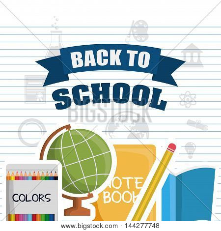 sphere colors books pencil back to shool education icon set. Colorful and flat design. Vector illustration
