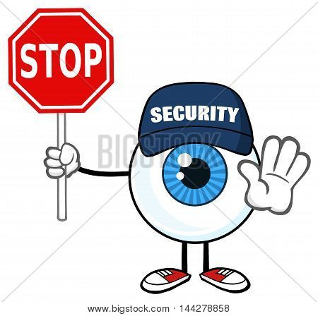 Blue Eyeball Guy Cartoon Mascot Character Security Guard Gesturing And Holding A Stop Sign
