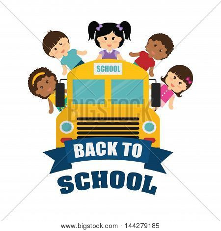 bus yellow kids girls boys back to shool education icon set. Colorful and flat design. Vector illustration